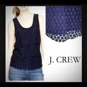J Crew Tiered Dot Tank Navy Blue Med